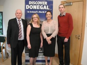 Pat McGarvey, Chairman, Donegal Self Catering Association; Máire Aine Gardiner, Failte Ireland; Martina Whoriskey, Donegal Local Development Company and Graham Glynn, OSD at the launch of the new Donegal Self Catering Association Website.